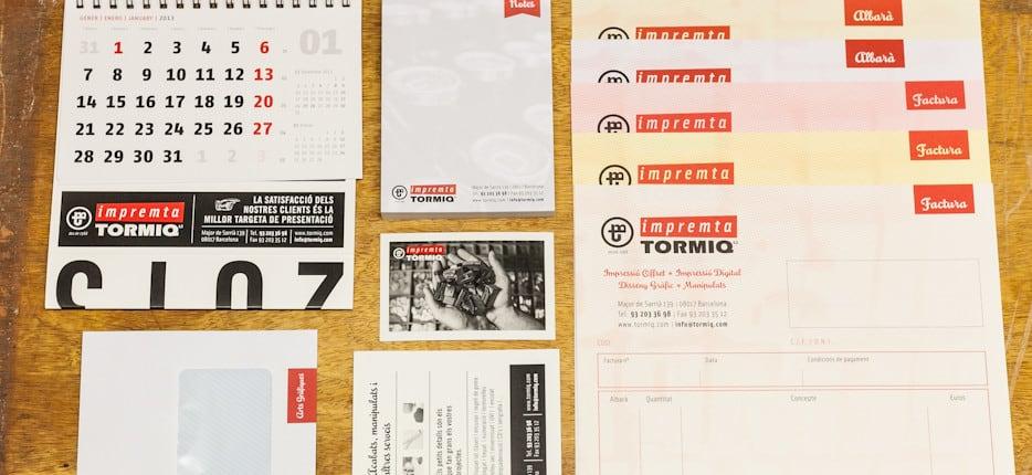 ©Tormiq imprenta Barcelona Offset i Digital, carpetas, sobres, tarjetas, calendario, bloc