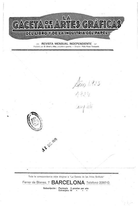 La Gaceta de las artes gráficas del libro y de la industria del papel. Impremta, Barcelona. Tormiq.